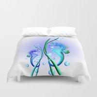 cartoon Duvet Covers featuring Seahorses Cartoon by BluedarkArt