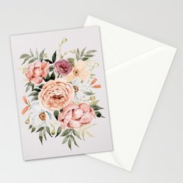 Muted Peonies and Poppies Stationery Cards