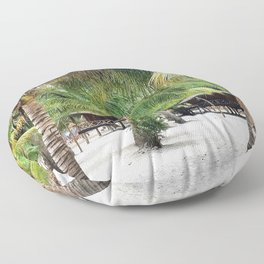 Bungalows on Palm Beach Floor Pillow