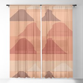 Abstraction_Mountains_Minimalism_Layers_001 Sheer Curtain