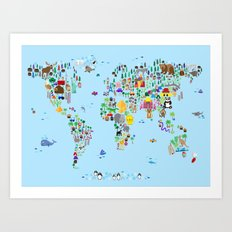 Animal Map of the World Art Print
