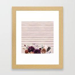 Artistic hand painted burgundy lilac bohemian floral stripes Framed Art Print