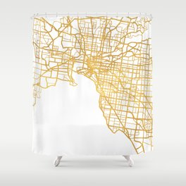 MELBOURNE AUSTRALIA CITY STREET MAP ART Shower Curtain
