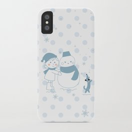 Happy snowman and a dog iPhone Case