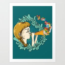 Girl with Trumpet Art Print