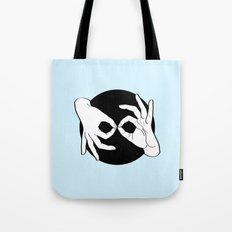 Sign Language (ASL) Interpreter – White on Black 03 Tote Bag