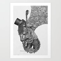 riff raff Art Prints featuring Guitar Riff by Bungle