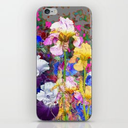 PINK-YELLOW PURPLE IRIS GARDEN GREY ART iPhone Skin