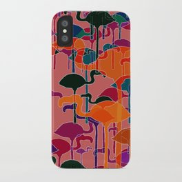 multicoloured flamingos iPhone Case