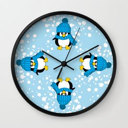Cute Baby Penguin with Blue Hat Wall Clock