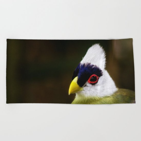 White Crested Turaco Beach Towel