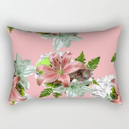 LILY PINK AND WHITE FLOWER Rectangular Pillow