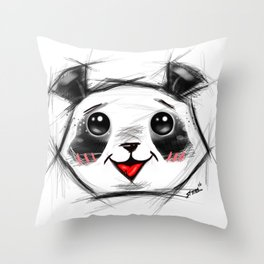 Adorable Sketch Panda Throw Pillow