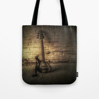 bass Tote Bags featuring BASS-ICS by Andy Burgess