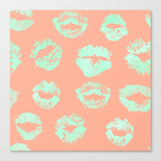 Sweet Life Lips Peach Coral + Mint Meringue Canvas Print
