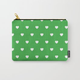 HEARTS ((white on shamrock)) Carry-All Pouch