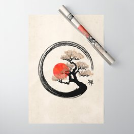 Enso Circle and Bonsai Tree on Canvas Wrapping Paper