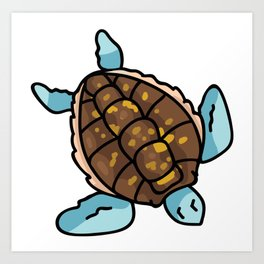 Cute sea turtle top view cartoon illustration motif set. Art Print
