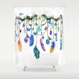 Folkestone Feather, Crystal And Butterfly Spirit Gazer Shower Curtain