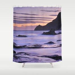 Vela blanca tower. Purple beach Shower Curtain