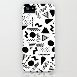 Retro abstract geometrical black white 80's pattern iPhone Case