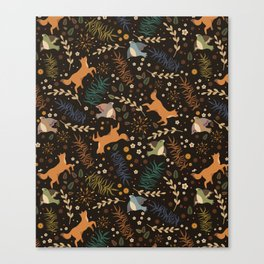 Autumn Woodsy Floral Forest Pattern With Foxes And Birds Canvas Print