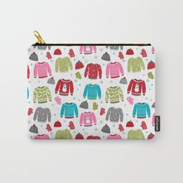 Sweaters festive outfit skiing winter sports cross country ski ugly sweater party Carry-All Pouch