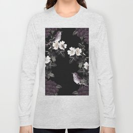 Blackberry Spring Garden Night - Birds and Bees on Black Long Sleeve T-shirt