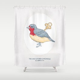 Haruki Murakami's The Wind-Up Bird Chronicle // Illustration of a Bird with a Wind-up Key in Pencil Shower Curtain