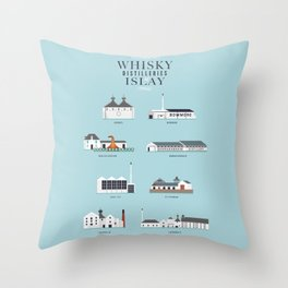 Whisky Distilleries of Islay Throw Pillow