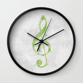 Lime Green Watercolor Treble Clef Wall Clock