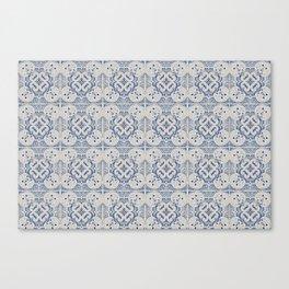 Vintage blue tiles pattern Canvas Print