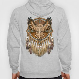 Native American-Style Great Horned Owl Mandala Hoody