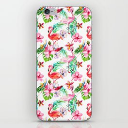 Hand painted blush pink coral watercolor tropical flamingo floral iPhone Skin