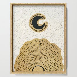 Sun and Moon Relationship // Cosmic Rays of Black with Gold Speckle Stars Cool Minimal Digital Drawn Serving Tray