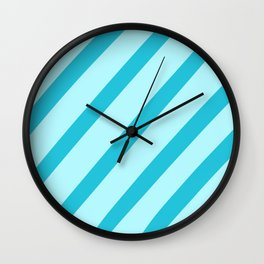 Minty Stripes Wall Clock
