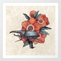 hercules Art Prints featuring Hercules Beetle by Angela Rizza