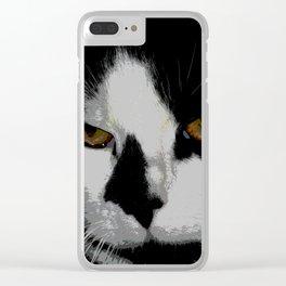 Black white cat II Clear iPhone Case