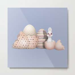 Kawaii Easter - Bunny hatching from Golden Colored Easter Eggs - light blue background Metal Print