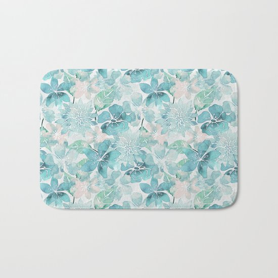 Blue green watercolor flower pattern Bath Mat