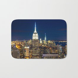 New York city skyline at night Bath Mat