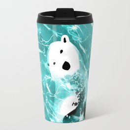 Playful Polar Bear In Turquoise Water Design Travel Mug