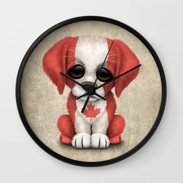 Cute Puppy Dog with flag of Canada Wall Clock
