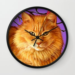 longhaired orange tabby cat Wall Clock