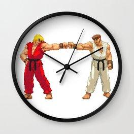 Ryu Hoshi and Ken Masters Pixel Art Wall Clock