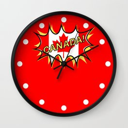 Canadian Flag Comic Style Starburst Wall Clock