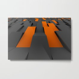 Black and orange plastic waves Metal Print