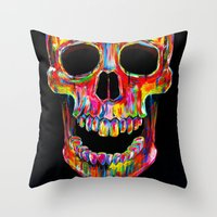 terminator Throw Pillows featuring Chromatic Skull by John Filipe