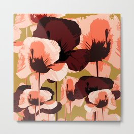 Coral and Brown Color Poppies on Dark Yellow Background #decor #society6 #buyart Metal Print