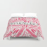 french Duvet Covers featuring Pardon My French – Pink by Cat Coquillette